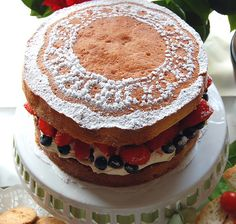 Place a lacy paper doily on the top of your cake, then dust with icing sugar, to create this intricate pattern for a British summer buffet!