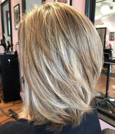 70 Brightest Medium Layered Haircuts to Light You Up, Frisuren, Lob With Angled Layers Throughout. Layered Thick Hair, Medium Length Hair Cuts With Layers, Medium Hair Cuts, Short Hair Cuts, Short Hair Styles, Long Layered, Med Long Hair Cuts, Medium Hair Styles For Women With Layers, V Cut Layers