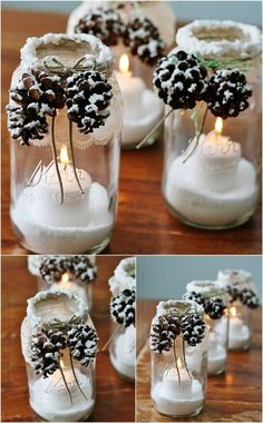 Christmas DIY: Snowcapped Pinecones Snowcapped Pinecones - 12 Magnificent Mason Jar Christmas Decorations You Can Make Yourself candles in mason jars christmas Mason Jar Christmas Decorations, Christmas Mason Jars, Noel Christmas, Xmas Decorations, Office Christmas, Christmas Candles, Christmas Music, Rustic Christmas, Christmas Glasses