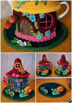 #Knit Fairy House Teapot Cozy Cover Pattern Free-Crochet Knit Tea Cozy Free Patterns #Kitchen