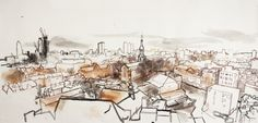 Charcoal, ink and watercolour, 2007 103 x 218 cm A large drawing of London's skyline made on an eleventh floor balcony overlooking St Leonard&#...