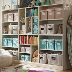 Great layout of bookshelves! Craft room - stuido - home office storage ideas. photo credit: PBteen