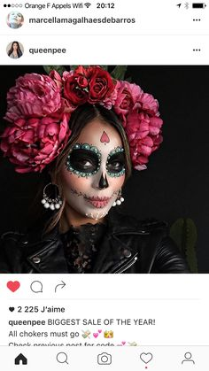 """Unicorns and Co .: These are the coolest Halloween costumes 2 Einhörner und Co.: Das sind die coolsten Halloween-Kostüme 2016 The figure """"La Catrina"""" actually comes from Mexico – as a costume it is not only cool, but also quite fashionable. Costume Halloween, Happy Halloween, Halloween Makeup Looks, Halloween 2015, Pretty Halloween, Halloween Makeup Sugar Skull, Sugar Skull Costume, Scary Halloween, Halloween Crafts"""