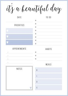 Put in frame to be reusable, daily affirmations, planner, intention setting Cute Daily Planner, To Do Planner, Daily Planner Pages, Study Planner, Life Planner, Weekly Planner, Free Daily Planner Printables, Day Planner Template, Printable Planner Pages