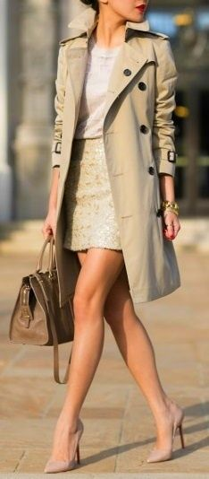 Long trench coat, sequin skirt. Love the fact the entire outfit is one neutral color.