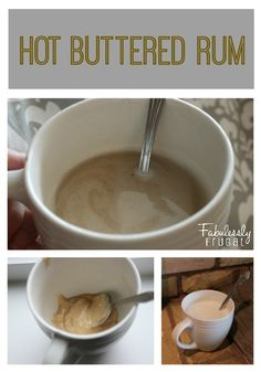 Hot Buttered Rum. This is an alcohol free hot drink that tastes like warm butterscotch with the spices of eggnog or pumpkin pie.