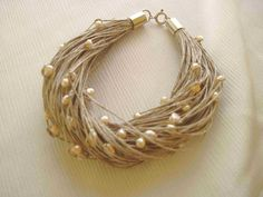 Natural Pearls Linen Bracelet  Beaded Bracelet by DreamsFactory, $30.00