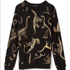 Metallic Dinosaur Sweatshirt Black and gold metallic dino skeleton crew neck! Cozy and kawaii~*~ Forever 21 Sweaters Crew & Scoop Necks