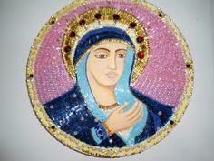 """""""Virgem Maria"""" acrílica e colagens s/ tela"""