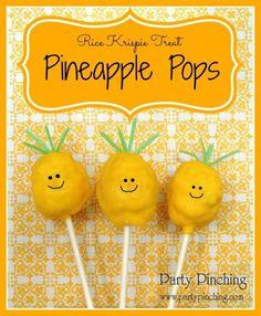Pineapple Rice Krispie Treat Pop Tutorial