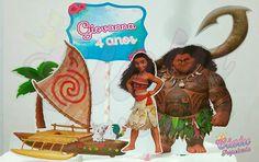 Topo de Bolo em papel Moana e Mauí #Moana #Maui #TopoDeBolo #CakeTopper #PapelariaPersonalizado