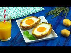 Neem een uitgeholde aardappelhelft en laat er een ei in glijden. Het lijkt wel Pasen!