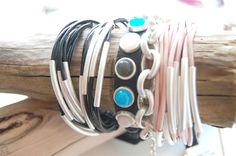 Armreifen in schwarz und rosa, Leder-Armband, Armkette Copenhagen, Headphones, Bangles, Earrings, Pink Leather, Black, Ear Phones, Headset