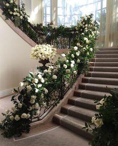 @michael_markdesign Garland Wedding, Wedding Decorations, Wedding Staircase Decoration, Our Wedding Day, Dream Wedding, Wedding Walkway, Stairway Decorating, Stair Decor, Floral Garland