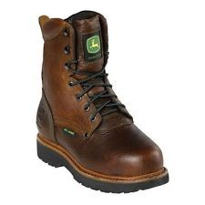 John Deere Work Boots Womens Leather Lace Up Steel Toe Brown JD3362