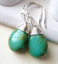 turquoise wire wrapped earrings with square wire used for earwire