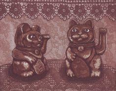 Maneki neko x 2 Lucky Cat x 2 www.annamaija.com www.facebook.com/annamaijamattilas Intaglio Printmaking, Maneki Neko, Anna, Teddy Bear, Facebook, Cats, Artist, Animals, Gatos
