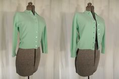 1950s Sweater// 50s Pin Up Sweater// 50s Crop Cardigan// High Waist Sweater// Lime Green Cardigan// 1940s Sweater// 40s Cardigan// Lrg XL by RockabillyRavenVtg on Etsy