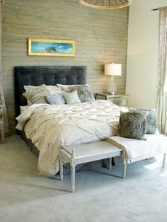 Gray and tan master bedroom french country.