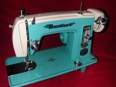 Blue and white brother Vintage Sewing Machine