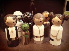 Star Wars Peg People Set  Luke Leia Chewbacca Han par ImSharkWeak, $99,00