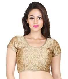 JUZ ME Gold Cotton Blouses - JUZ ME Saree blouse Brocade Blouses, Cotton Blouses, Aerial Costume, Designer Blouses Online, Saree Blouse Designs, Costumes, Bra, Lace, Gold