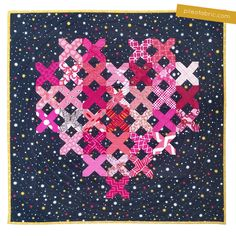 Sweet Cross My Heart mini quilt made by Alyssa Lichner from Pile O' Fabric'