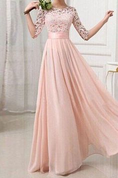 Pink Patchwork Lace Pleated Half Sleeve Chiffon Fashion Ball Gown Prom Maxi Dress