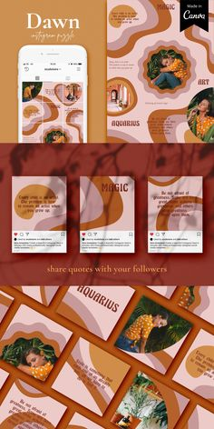 Dawn Instagram puzzle grid for Canva by Studio Loire on @creativemarket Instagram Collage, Instagram Grid, Instagram Frame, Instagram Design, Instagram Posts, Instagram Story, Page Design, Tool Design, Design Layouts