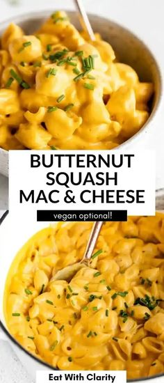 This creamy butternut squash mac and cheese is the perfect recipe for fall! It's easy to make, full of flavor and SO rich and creamy. You can make this mac and cheese vegan, dairy free or with regular cheddar cheese. Plus, you can bake it for a crispy top! Quick Vegetarian Dinner, Easy Vegan Dinner, Vegan Dinner Recipes, Vegan Breakfast Recipes, Vegan Dinners, Vegan Recipes Easy, Meal Recipes, Dairy Free Cheese, Vegan Mac And Cheese