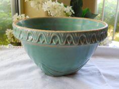 Vintage Antique Stoneware Blue Green Crock Bowl by cyndalees