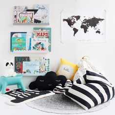 Happy World Book Day! We made this super cosy little reading nest with lots of cushions, pouffes and squishy mats to snuggle up on and indulge in some of our favourite books. There are some absolutely wonderful kids books out there, a real joy for children and adults to read together. Hope you enjoy whatever book you're reading this bedtime      Everything here available online - link in bio ▲  #ThisModernLife #WorldBookDay #Reading #KidsBooks #ReadingCorner #Rug #BookStorage #RoomStorage
