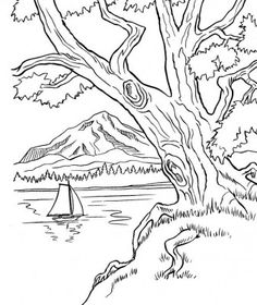 imagenes de naturaleza para colorear para descargar - Mountain Landscape Coloring Pages