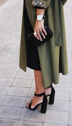 #street #style / olive green trench coat