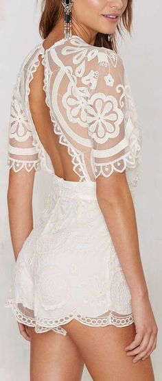 Open Back Lace Jumper ❤︎ how cute for honeymooning