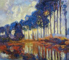 Poplars on the Banks of the River Epte Claude by PaintingMania