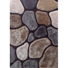Hand Carved Polyester Indoor Shag Rugs with Outdoor Style Design - x (Earth), Beige, Size x Wool Area Rugs, Blue Area Rugs, Thing 1, Rock Design, Rectangular Rugs, Area Rug Sizes, Brown And Grey, Dark Brown, Rug Making