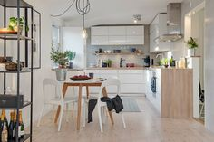 Scandinavian Dining Room Design: Ideas & Inspiration - Di Home Design Kitchen Tops, New Kitchen, Kitchen White, Room Kitchen, Kitchen Living, Kitchen Ideas, Attic Design, Interior Design, Interior Modern