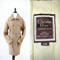 vintage 70s christian DIOR MONSIEUR cold weather trench coat size M/L by PasseNouveauVintage, $120.00