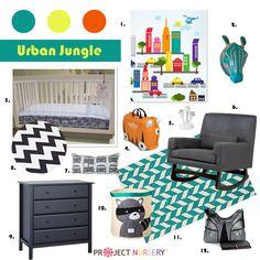 Urban Jungle Design Board -- I like the Orange and Teal combo. That is fun and boyish.