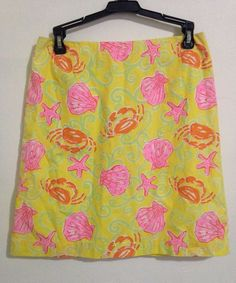 Lilly Pulitzer Sand Bar Yellow Crab Skirt Size 6 #LillyPulitzer #StraightPencil