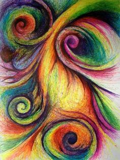 "Beautiful swirls....  On etsy. ""Colorful Abstract with Swirls - Original Drawing 9x12"" by michellecuriel"