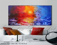 55'' ''Majestic Sunset'' Large Original Seascape Painting Abstract Free Shipping Painting Ready to hang by Julia Apostolova