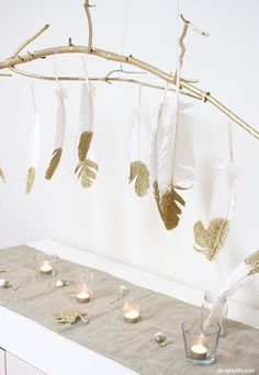 DIY Glitter Feathers Branch Chandelier #HolidayIdeaExchange