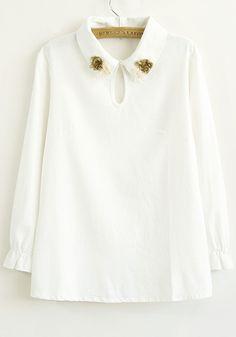 White Plain Appliques Long Sleeve Linen Blend Blouse