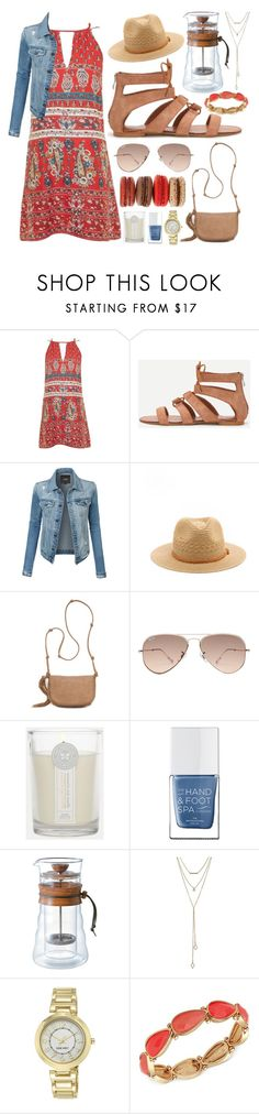 """""""Shirley"""" by goingdigi on Polyvore featuring Topshop, LE3NO, Red Camel, Ray-Ban, The Honest Company, The Hand & Foot Spa, Hario, SUGARFIX by BaubleBar and Nine West"""