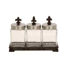 Woodland Imports Glass Metal Jar (Set of 3)