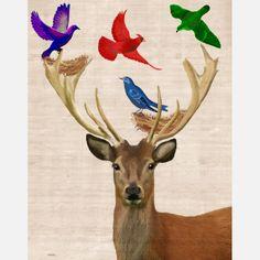 Deer & Nesting Birds Print