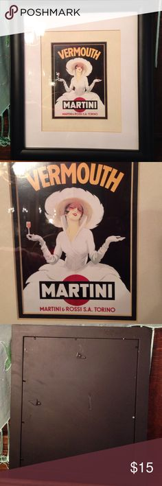 """Framed print Gorgeous framed, vintage print. Martini and Rossi Vermouth. Excellent condition. Measures 15"""" by 13 1/2"""". Other"""