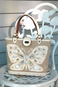 Enid Collins of Texas Flutterbye Jeweled Vintage Mod Purse Butterfly 60's Retro